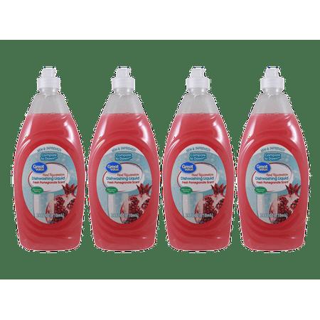 (4 Pack) Great Value Hand Rejuvenation Dishwashing Liquid, Fresh Pomegranate Scent, 24 oz (Fresh Dish Liquid)