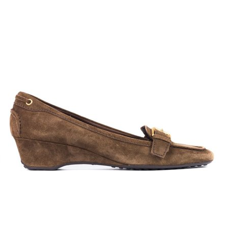 Car Shoe By Prada Brown Suede Buckled Square Toe Wedges