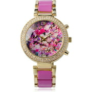 Women's Rhinestone Floral Print Link Band Fashion Watch, Pink