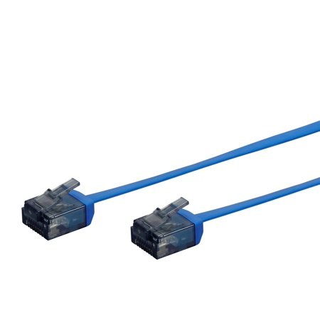 Monoprice Cat6 Ethernet Patch Cable - 5 feet - Blue | Flat, Stranded, 550MHz, UTP, Pure Bare Copper Wire, 34AWG  - Micro SlimRun Series 5 Utp 568b Patch Cable