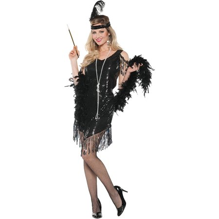 Black Swinging Dress Women's Adult Halloween Costume