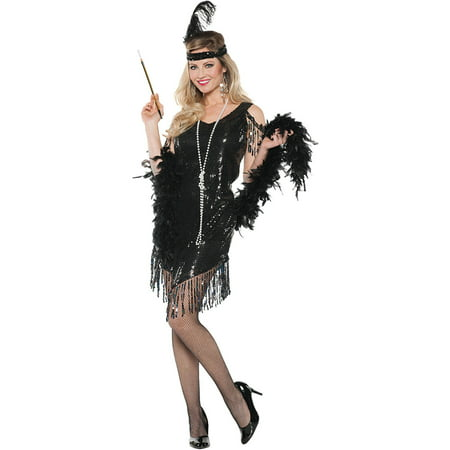 Black Swinging Dress Women's Adult Halloween Costume - Short Black Dress Halloween Costume