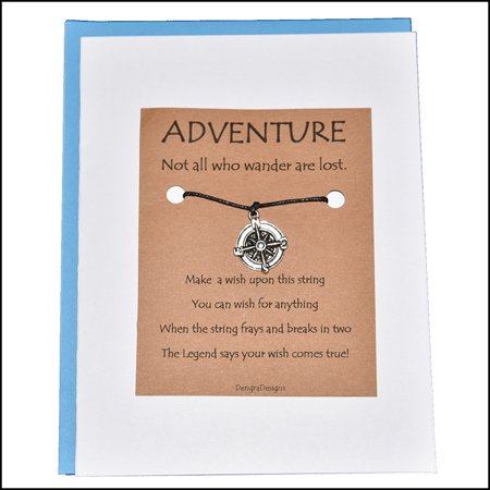 Thoughtful Greeting Card and Wish Bracelet Adventure with Compass Charm - Charmed Greeting