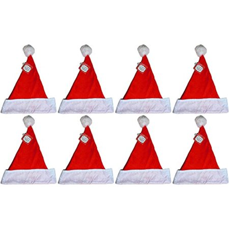 Felt Large Holiday Christmas Red Santa Hat With Plush Cuff (8 Hats)