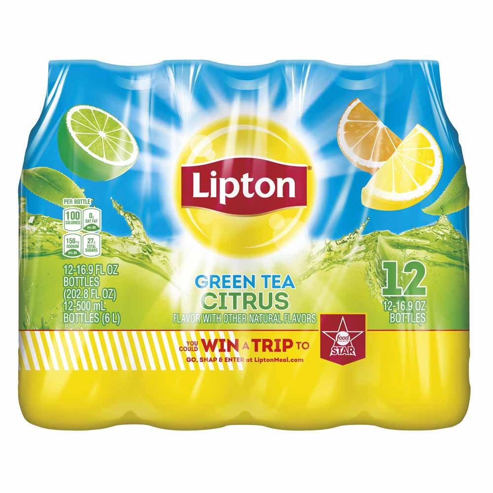(2 Pack) Lipton Green Tea Citrus Iced Tea, 16.9 Fl Oz, 12 Count