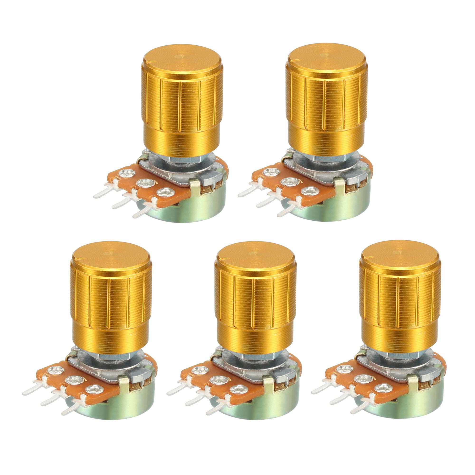 WH148 5K Ohm Variable Resistors Single Turn Rotary Carbon Film Taper Potentiometer W Knobs 5pcs