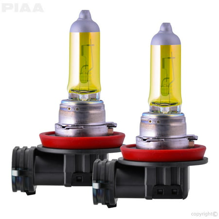 PIAA 22-13408 H8 Solar Yellow Replacement Bulb; 12V; 55W; 2500K; Twin Pack;