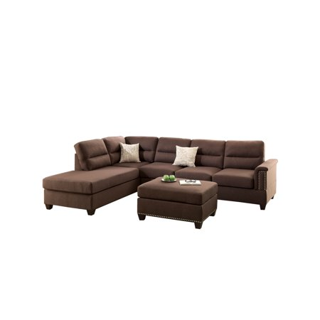 Bobkona Toffy Reversible Sectional with Ottoman Set, Multiple