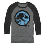 Jurassic World Men's Cracked T. Rex Logo Baseball Tee