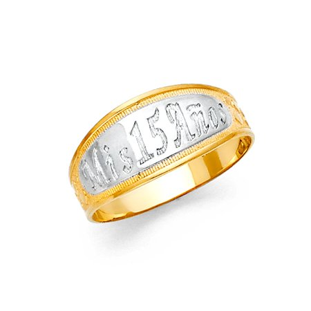 - 14k Two Tone Italian Gold 9mm Square Classic Mis Sweet Quince Anos Polish Band Quinceanera 15 Anos Birthday Ring Size 9.5 Available All Sizes