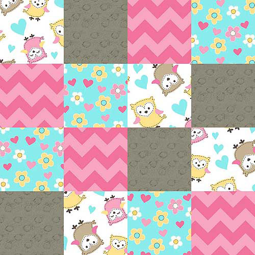 """Owl Love You Patches, Multi-Color Substrate Patch, Pink, 44"""" Wide, Fabric by the Yard"""