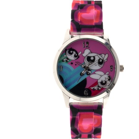 Powerpuff Girls Womens Analog Watch  Pink Heart Print Strap