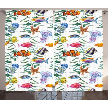 Saltwater Multi Pack (Ocean Animal Decor Curtains 2 Panels Set, Tropical Coral Reef with Seaweed Algae Jellyfish Aquatic Saltwater Nemo Theme, Window Drapes for Living Room Bedroom, 108W X 90L Inches, Multi, by Ambesonne )