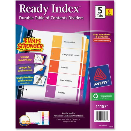 Avery Customizable Table Of Contents Dividers Multicolor 5 Tabs