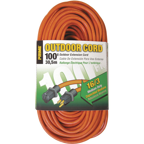 Prime Wire 100-Foot 16/3 SJTW Medium Duty Extension Cord, Orange