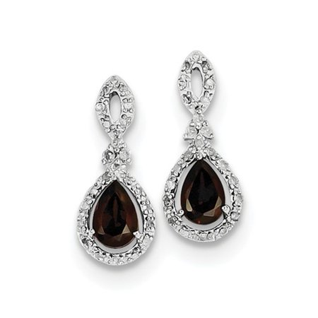 Sterling Silver 0.6IN Long Diamond & Garnet Teardrop Post Pear Earrings