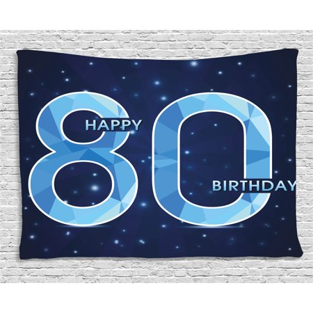 80th Birthday Decorations Tapestry, Diamond Age 80 Happy Birthday Party Theme with Stars, Wall Hanging for Bedroom Living Room Dorm Decor, 80W X 60L Inches, Navy Blue and Sky Blue, - 80 Theme