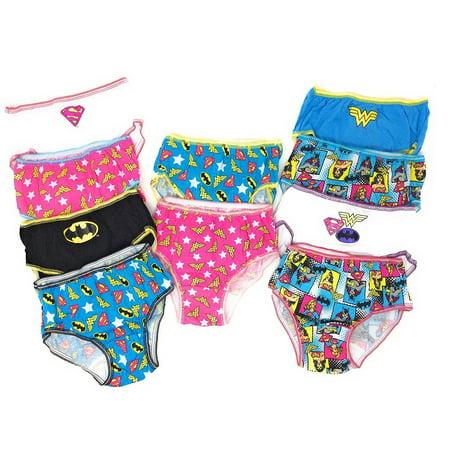 80d203ee67663 Handcraft - DC Comics Justice League 10-Pack Girls Panties Underwear  Wonderwoman Supergirl Batgirl - Walmart.com