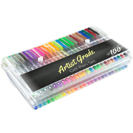 Color Gel Pen Set 100 Count for Adult Coloring Scrapbooking Doodling Comic Animation by Artist Grade ()