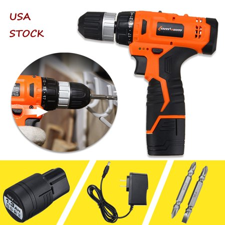2 Speed Mini Portable 12V Electric Cordless Drill Hammer Driver 0-1250R/MIN Speed Power Tools Home Decor Rechargeable Battery Driver Screwdriver LED (Cordless Rechargeable Hammer)