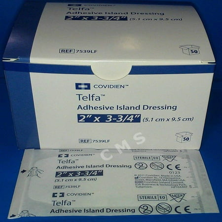 Telfa Adhesive Island Dressings, 2x3.75 Sterile Latex Free Tape & Drsg In 1, 50 ea, Adhesive Strip By