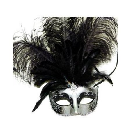 Party Gray Mask Costume Masquerade Night Out with Feather By MegaShopping