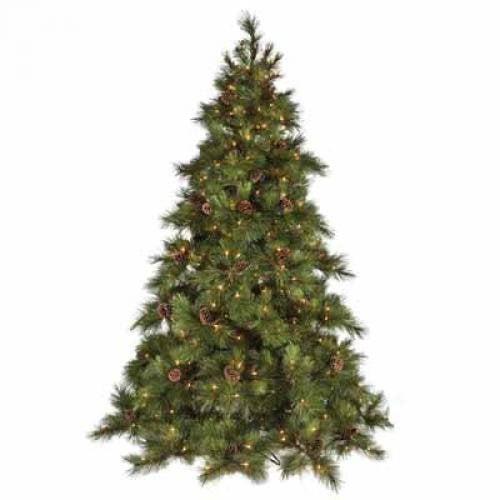 Derken Ltd DRK96670 Tree Full PVC Hayden Pinecones 600 Clear Lights 1298 Tips 64in Diameter 7.5ft