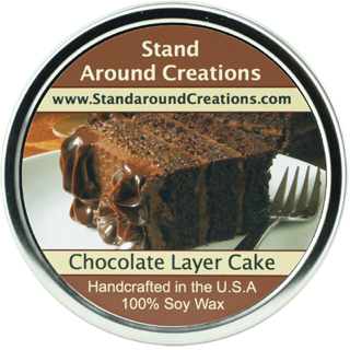 CHOCOLATE LAYER CAKE TIN 16-OZ. ALL NATURAL SOY CANDLE