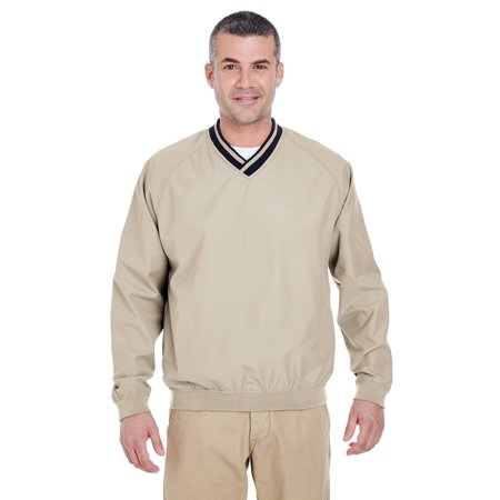 Ultraclub 8926 Adult Long-Sleeve Microfiber Crossover V-Neck Wind Shirt ()