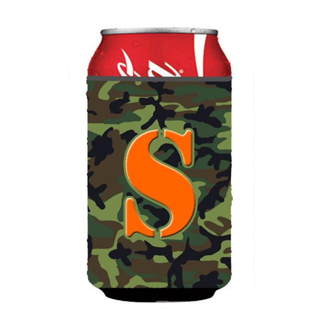 Letter S Initial Monogram - Camo Green Can Or Bottle  Hugger - image 1 of 1
