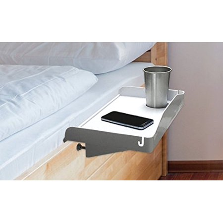 - Modern Innovations 15 Inch Bedside Caddy Tray with Cup Holder & Cable Cord Insert for Multipurpose Use as Bedside Table, Breakfast Bed Tray, Small Computer Desk, Kids Shelf & Nightstand (White)
