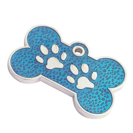 2PC Charm Bone Glitter Paw Dog Cat Tag Pendant Pet ID Collar - Walmart.com