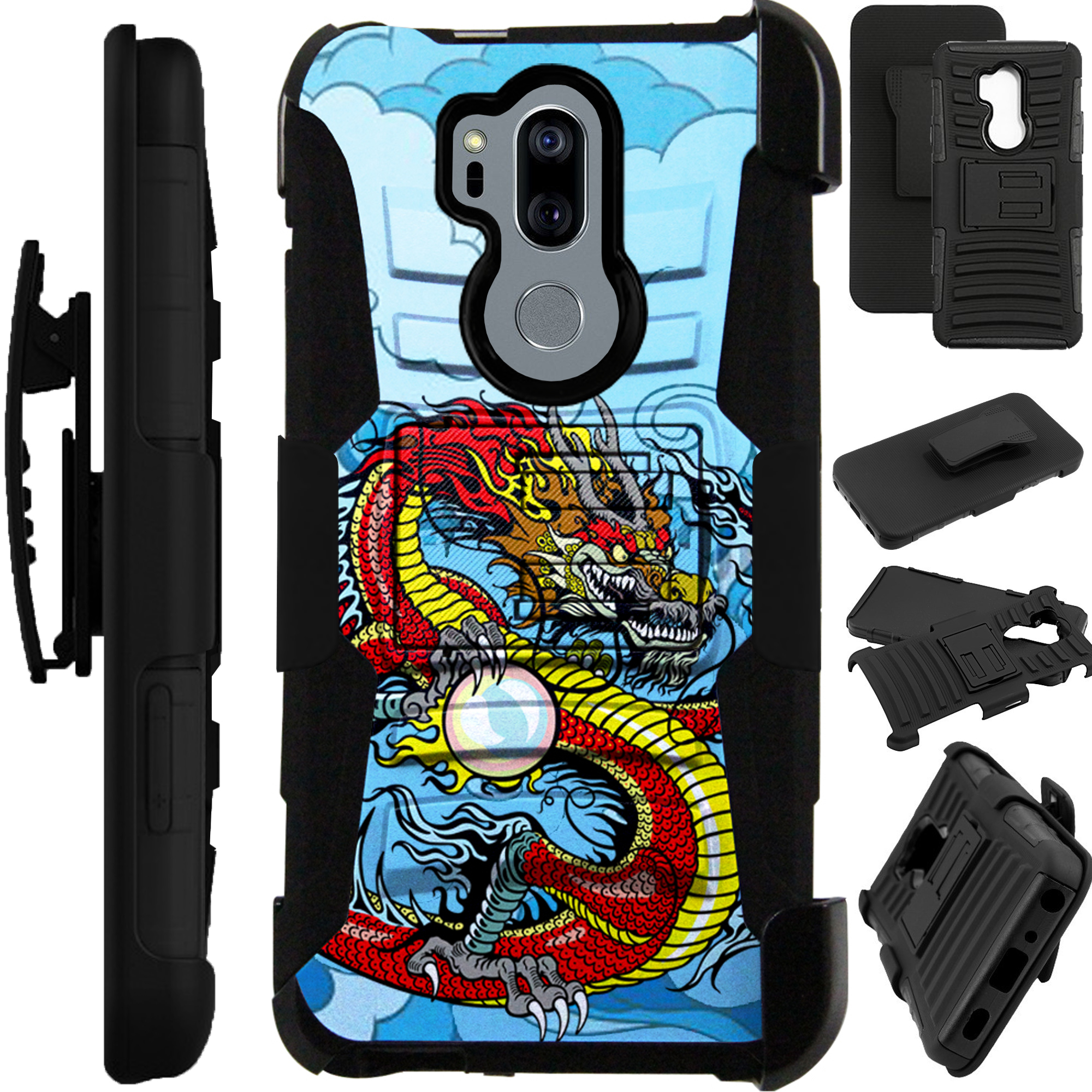 For LG G7 ThinQ | LG G7 Case Armor Hybrid Silicone Cover Stand LuxGuard Holster (Red Dragon)