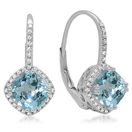Aquamarine Hoop Earring - Dazzlingrock Collection 18K 6 MM Each Cushion Aquamarine & Round Diamond Ladies Halo Style Hoop Earrings, White Gold