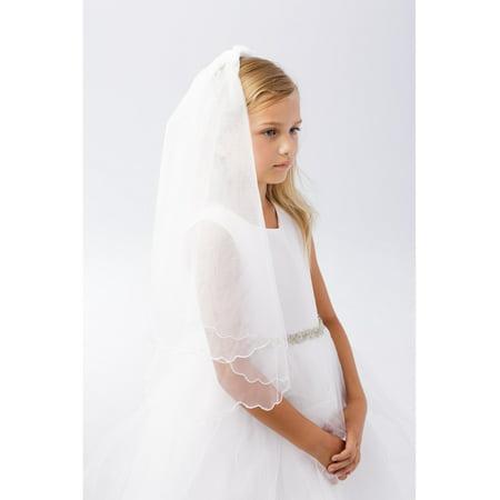 Girls Ivory Scalloped Chord Edging Double Layer Communion Flower Girl Veil