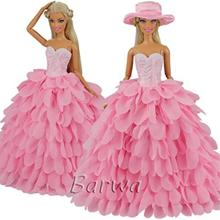 Barwa Pink Dress with Hat Evening Princess Party Clothes Wears Dress Outfit Set for Barbie Doll