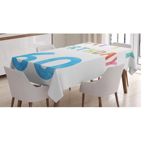 60th Table Decorations (60th Birthday Decorations Tablecloth, Vintage Birthday Party for Elder in Abstract Rainbow Colors Print, Rectangular Table Cover for Dining Room Kitchen, 52 X 70 Inches, Multicolor, by)