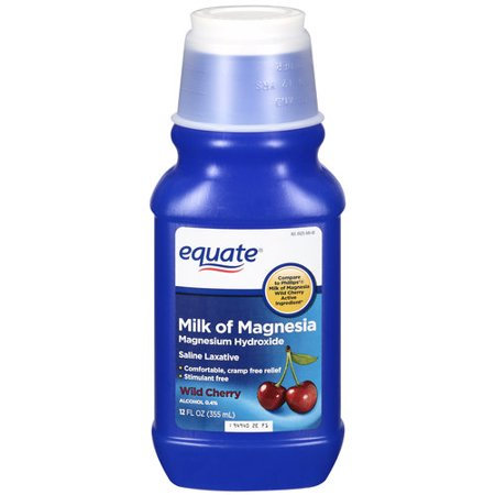- (4 Pack) Equate Milk of Magnesia Saline Laxative, Wild Cherry Flavor, 12 oz