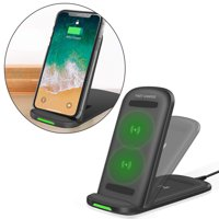 GLiving Foldable 10W Wireless Charger, Charging Stand & Pad, 2-in-1 Design, Ideal Fast Charger for iPhone XS/Max/XR/X/8/8 Plus, Galaxy Note 9/S9/S9 Plus/Note 8/S8, 5W Qi-Enabled Phones
