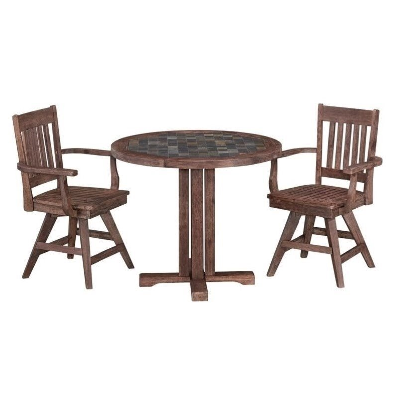 Bowery Hill 3 Piece Dining Room Set in Wire Brushed by Bowery Hill
