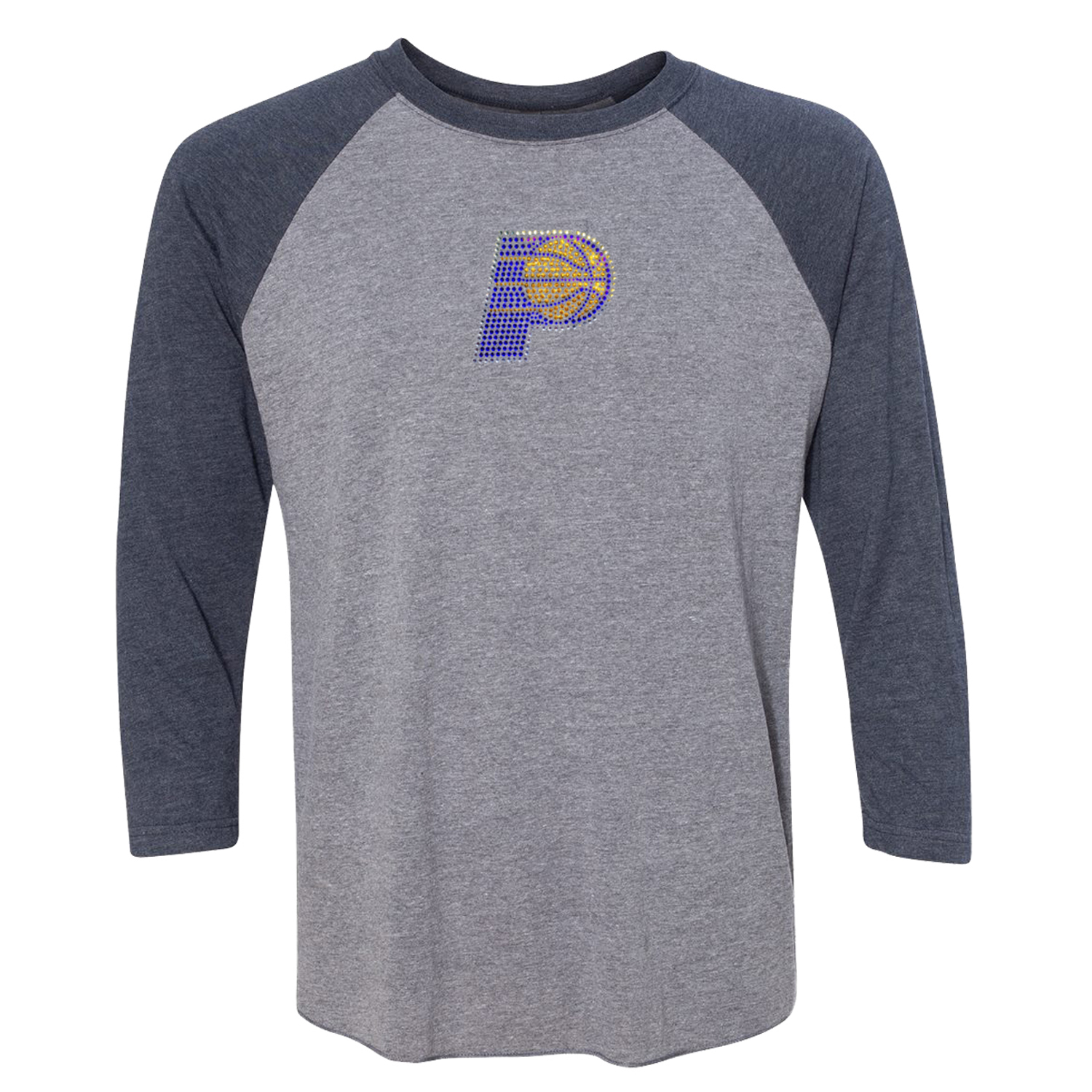 Indiana Pacers Women's Rhinestone Raglan 3/4-Sleeve T-Shirt - Gray