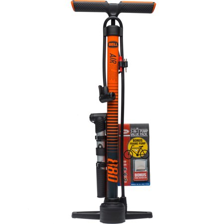 Bell Sports AirGlide 880 3-in-1 High Pressure Bicycle Floor/Frame Pump/Patch Kit Combo Pack, Orange
