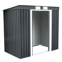 Gymax Outdoor Garden Storage Shed Tool House Sliding Door Metal Dark Gray