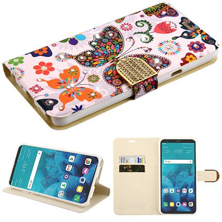 Phone Case for LG Stylo 4 Diamante Bling Jacket Flip Wallet Case Cover Stand Pouch Book Magnetic Buckle - Diamante Clip