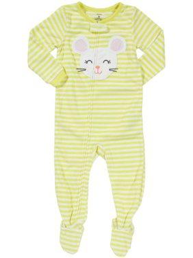 Carter's Little Girls' L/S Footed Blanket Sleeper - Stripe Mouse- 5