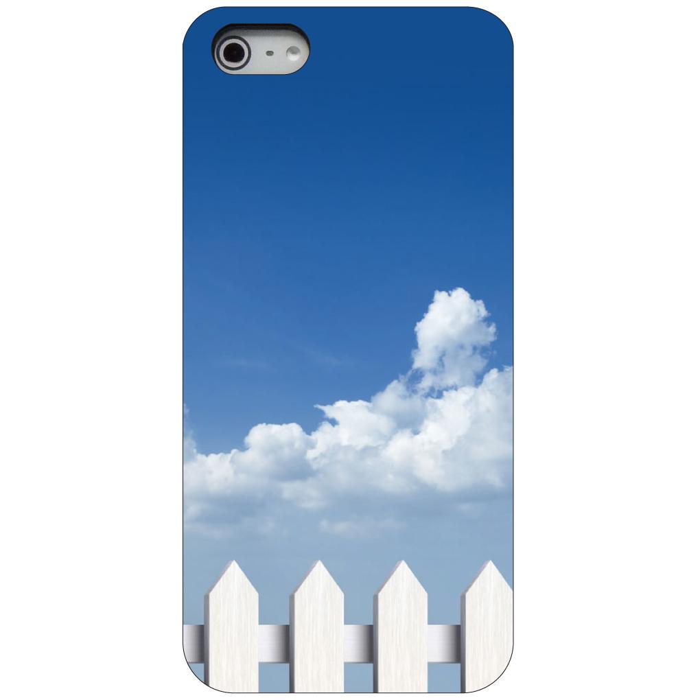 CUSTOM Black Hard Plastic Snap-On Case for Apple iPhone 5 / 5S / SE - White Picket Fence Sky