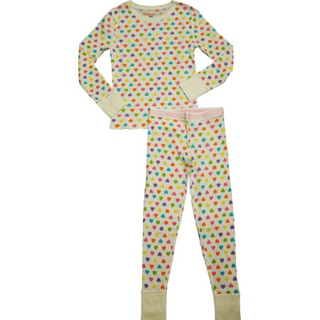 Hanes Girls X-Temp Thermal Underwear Sets - Solids and Printed - Preshrunk, 41061 Hearts / X-Small