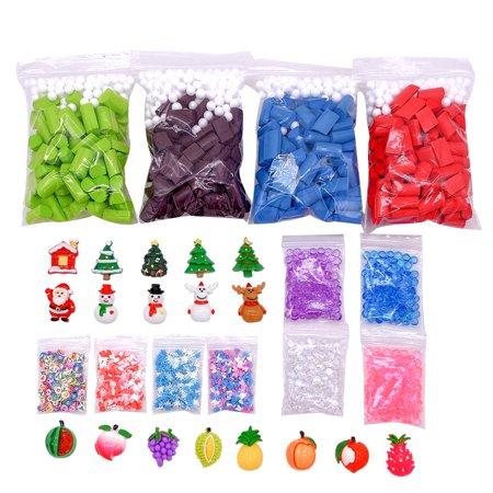 Siaonvr Slime Supplies Kit Christmas Foam Beads Charms Ball Tools For DIY Slime Making Charms Craft Kits