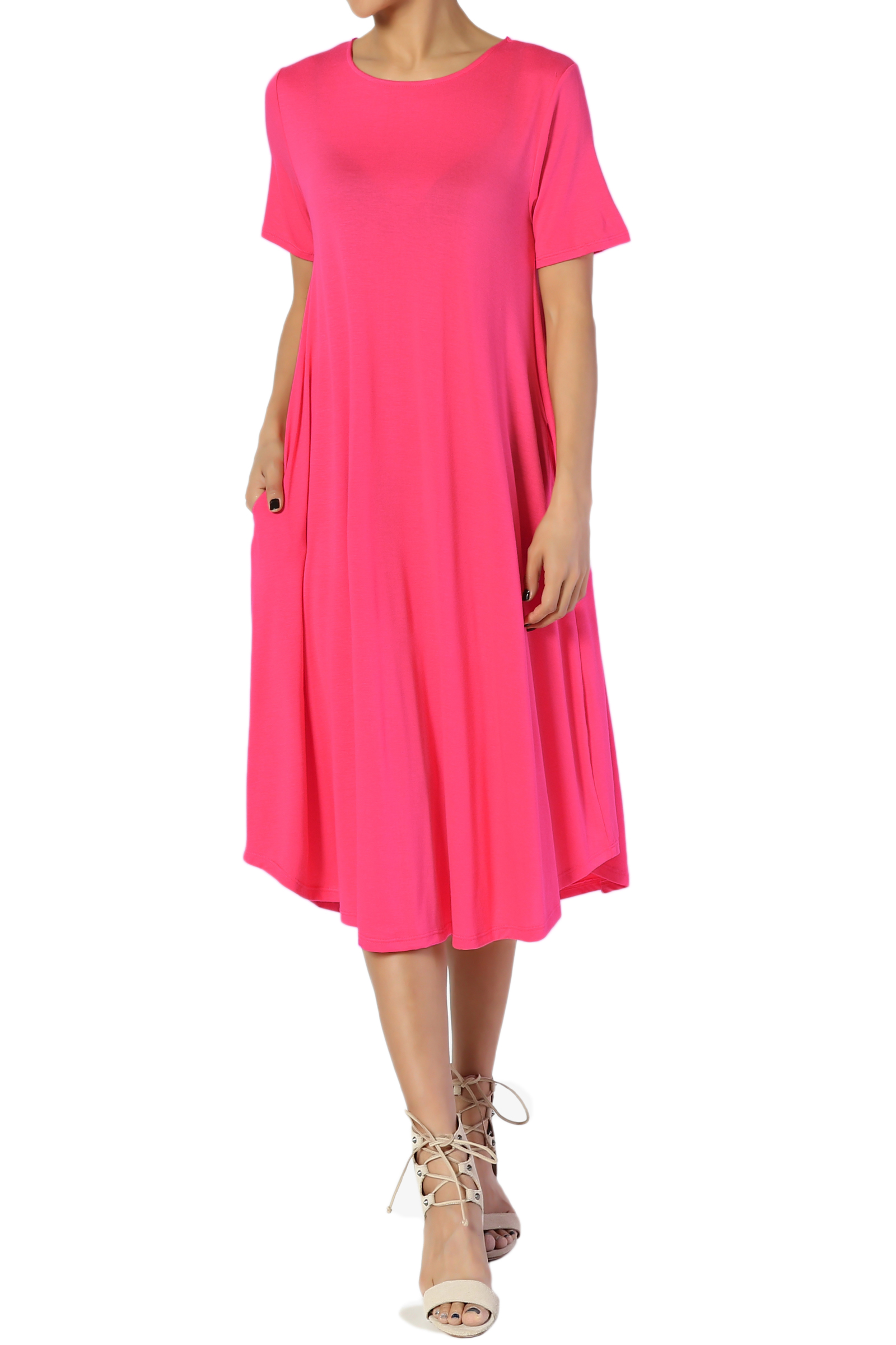 TheMogan Women's S~3X Short Sleeve Fit & Flare A-line Draped Jersey Midi Dress