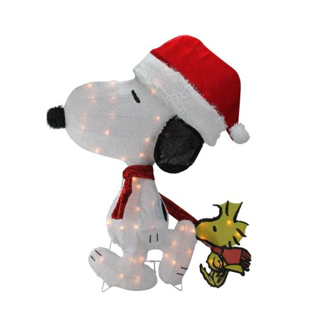 "32"" Pre-Lit Peanuts Snoopy and Woodstock 2D Christmas Outdoor Decoration - image 1 ..."